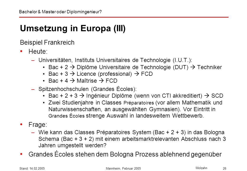 Umsetzung in Europa (III)