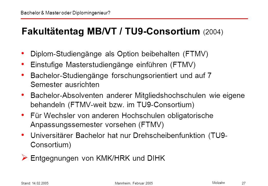 Fakultätentag MB/VT / TU9-Consortium (2004)