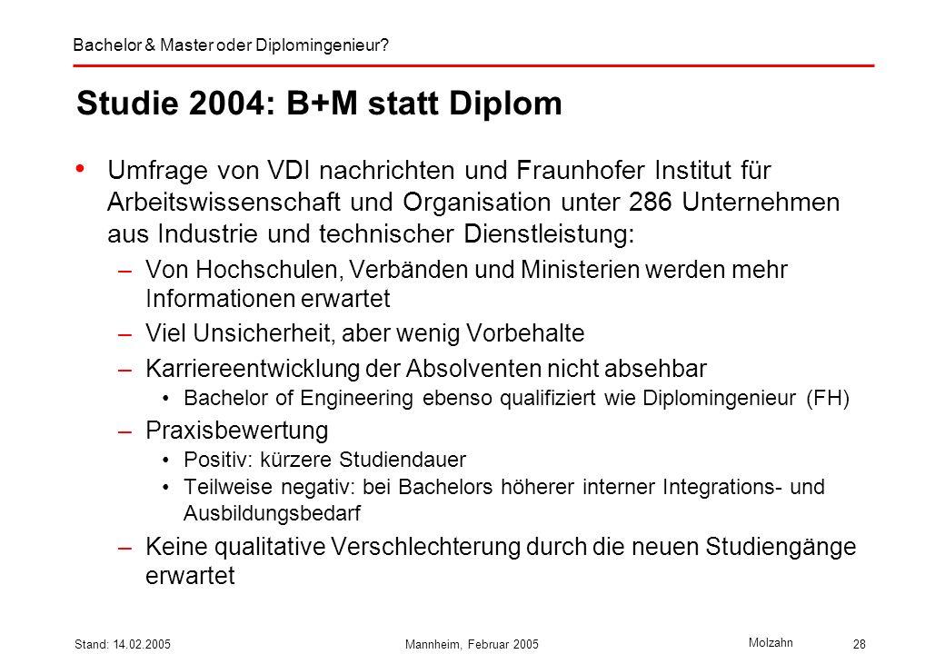 Studie 2004: B+M statt Diplom