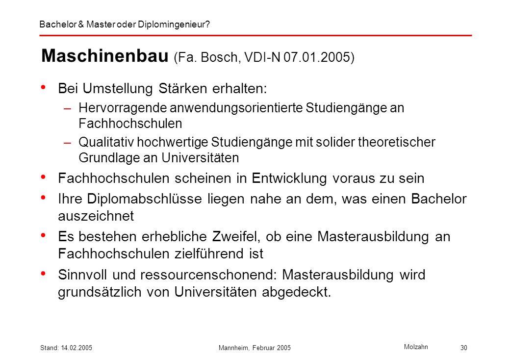 Maschinenbau (Fa. Bosch, VDI-N 07.01.2005)