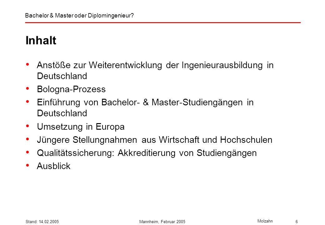 Druck: 14.02.2005Inhalt. Anstöße zur Weiterentwicklung der Ingenieurausbildung in Deutschland. Bologna-Prozess.