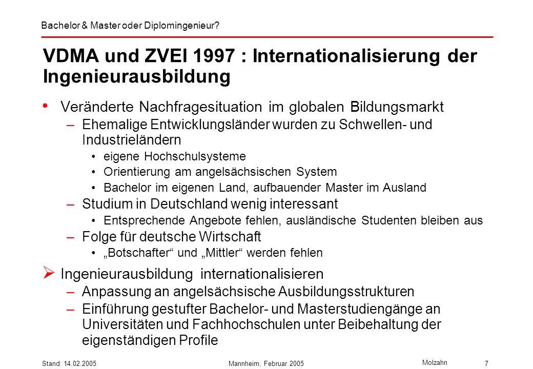 VDMA und ZVEI 1997 : Internationalisierung der Ingenieurausbildung