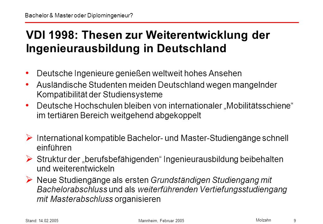VDI 1998: Thesen zur Weiterentwicklung der Ingenieurausbildung in Deutschland