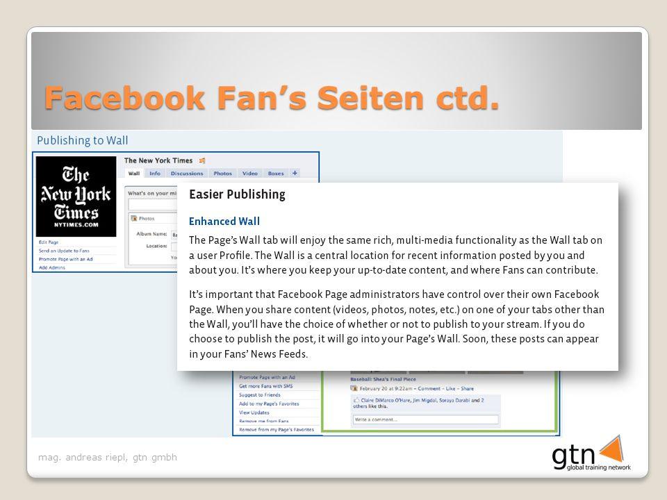 Facebook Fan's Seiten ctd.
