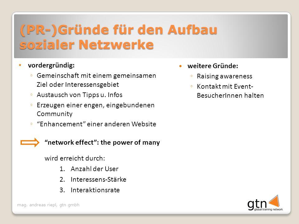 (PR-)Gründe für den Aufbau sozialer Netzwerke