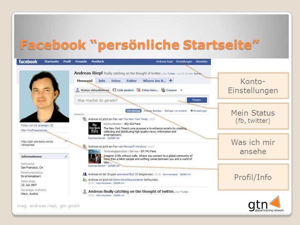 Facebook persönliche Startseite