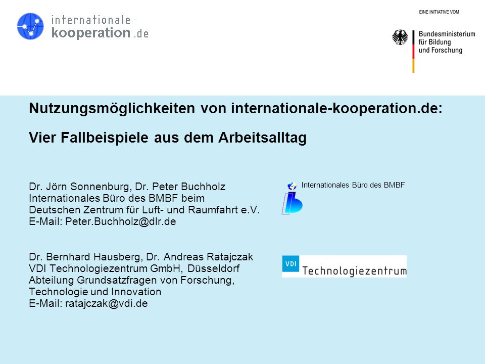 Nutzungsmöglichkeiten von internationale-kooperation.de: