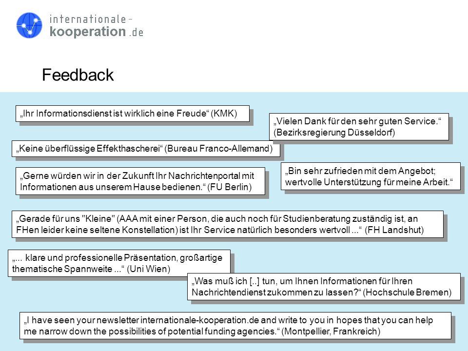 """Feedback """"Ihr Informationsdienst ist wirklich eine Freude (KMK)"""