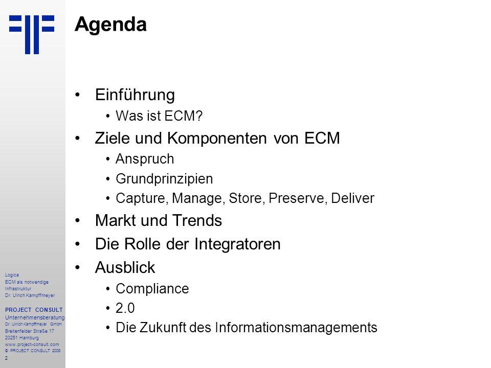 Agenda Einführung Ziele und Komponenten von ECM Markt und Trends