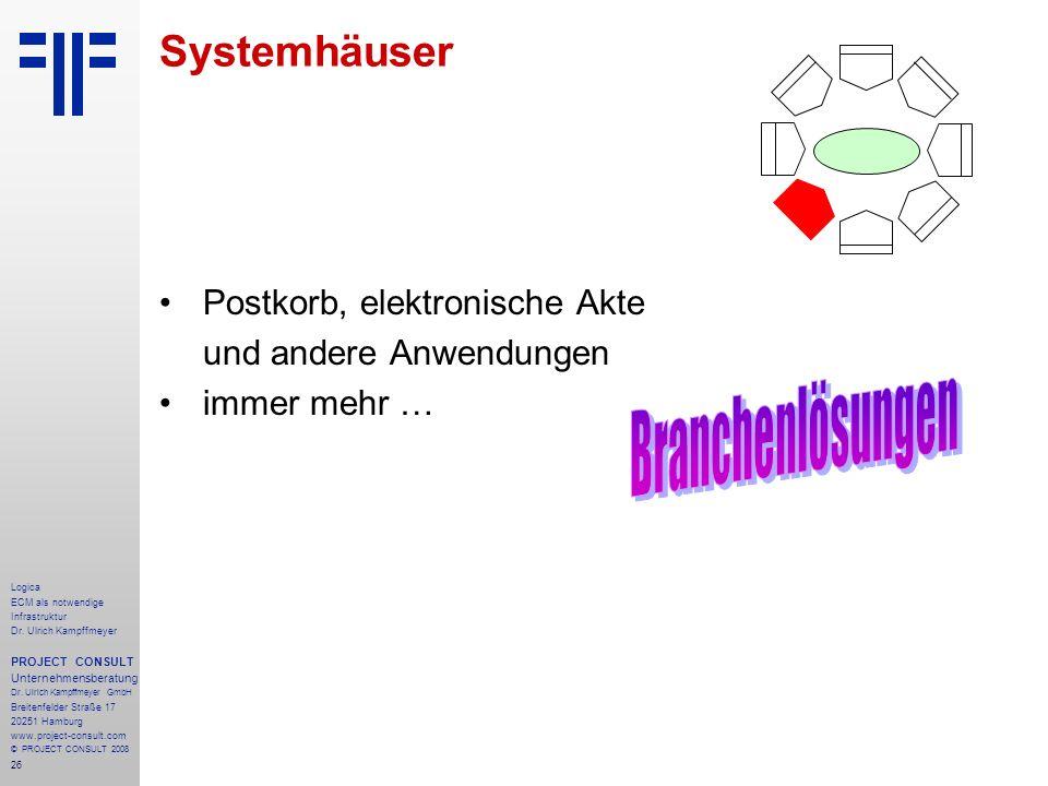 Branchenlösungen Systemhäuser Postkorb, elektronische Akte