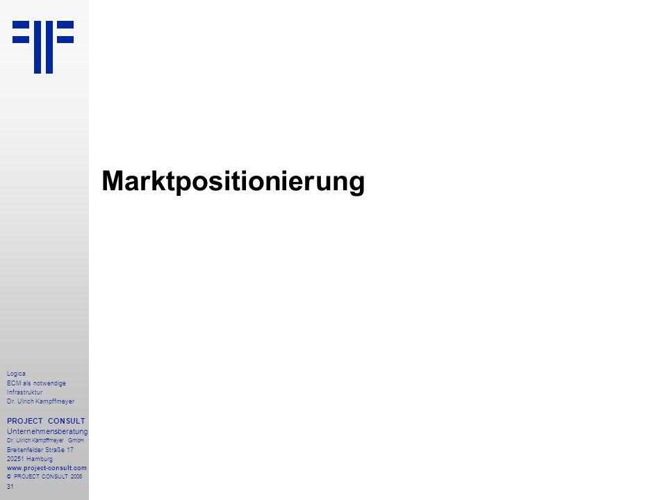 Marktpositionierung PROJECT CONSULT Unternehmensberatung Logica