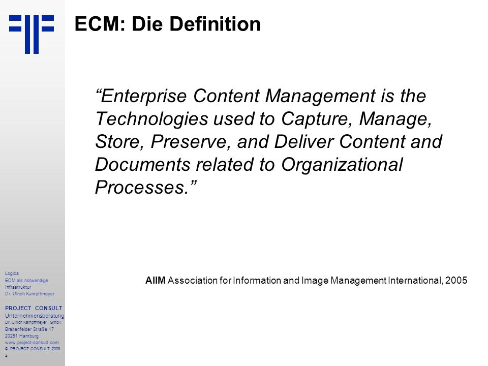 ECM: Die Definition