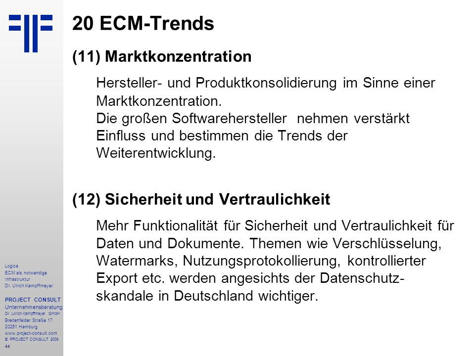 20 ECM-Trends (11) Marktkonzentration.