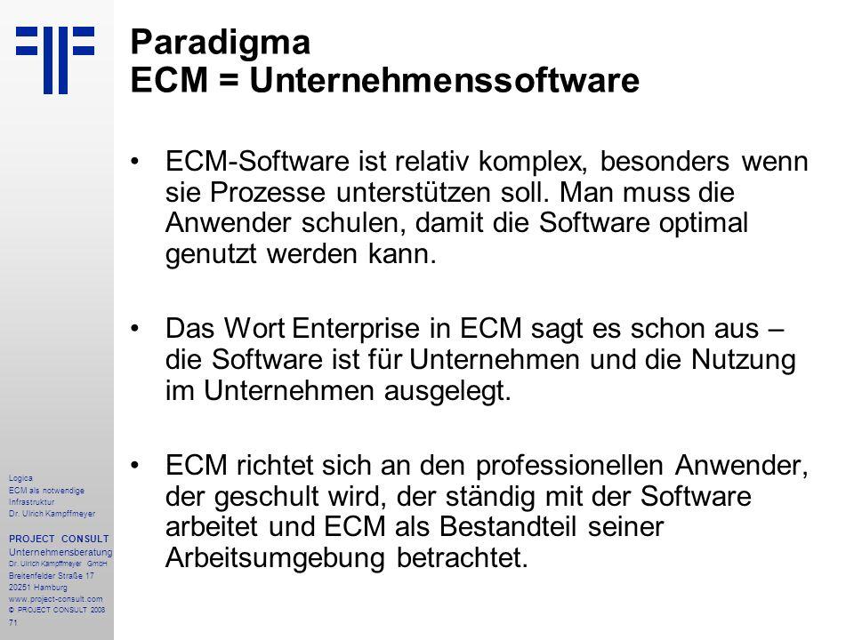 Paradigma ECM = Unternehmenssoftware
