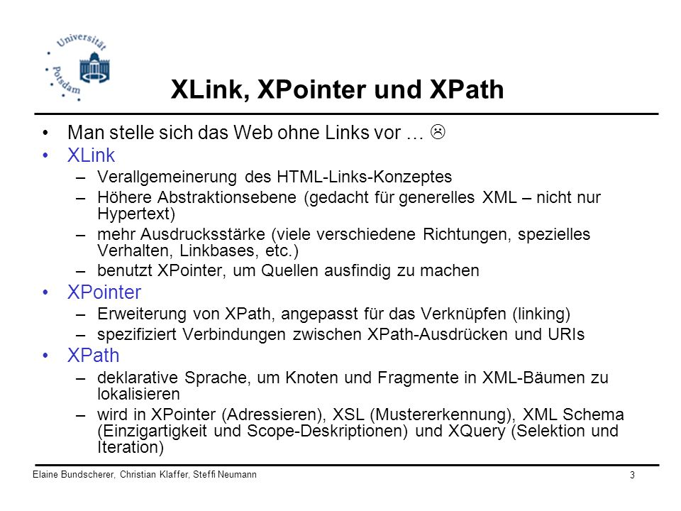 XLink, XPointer und XPath