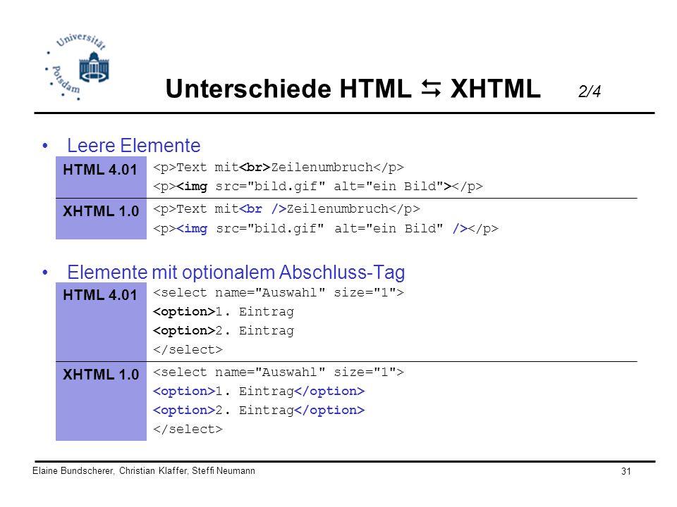 Unterschiede HTML  XHTML 2/4