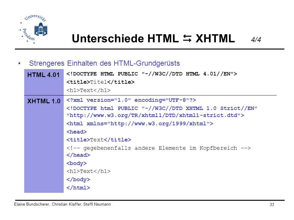 Unterschiede HTML  XHTML 4/4