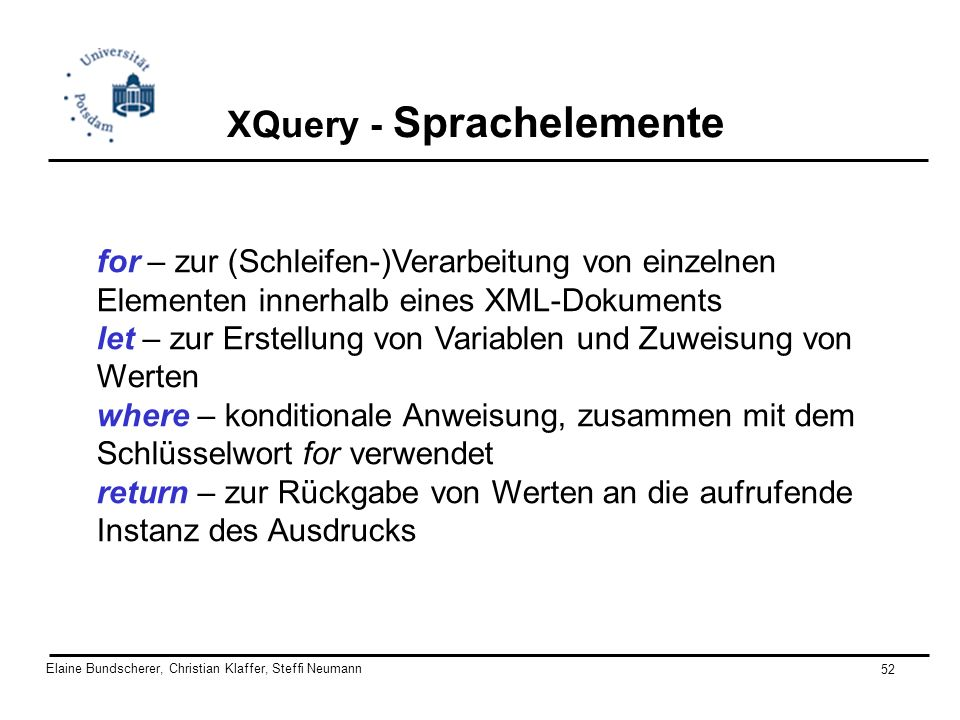 XQuery - Sprachelemente