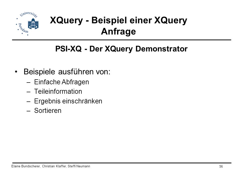 XQuery - Beispiel einer XQuery Anfrage