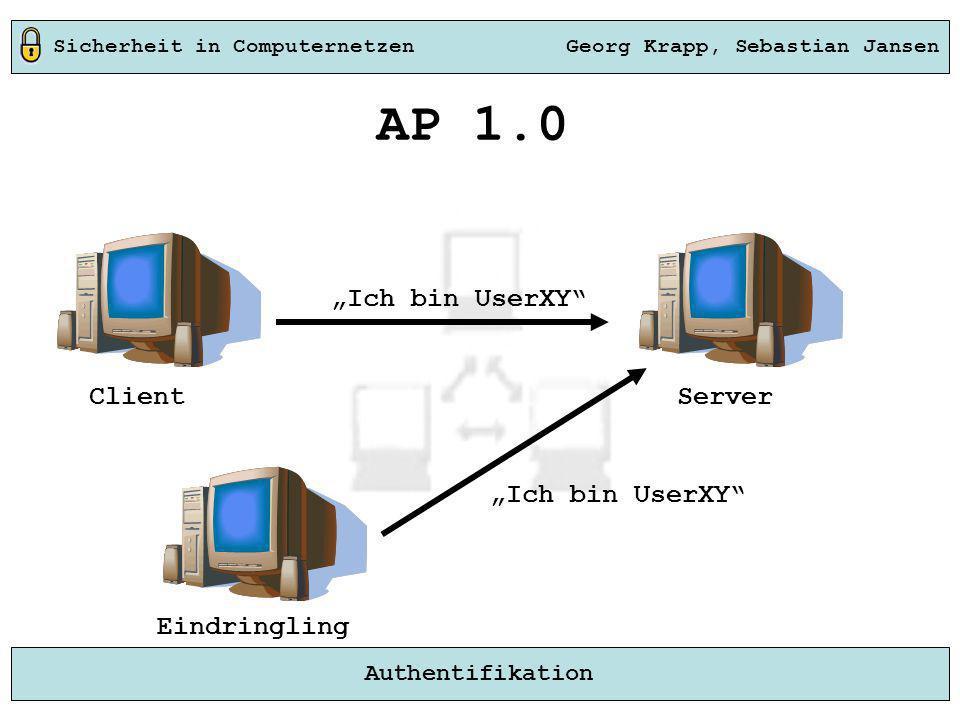 """AP 1.0 """"Ich bin UserXY Client Server """"Ich bin UserXY Eindringling"""
