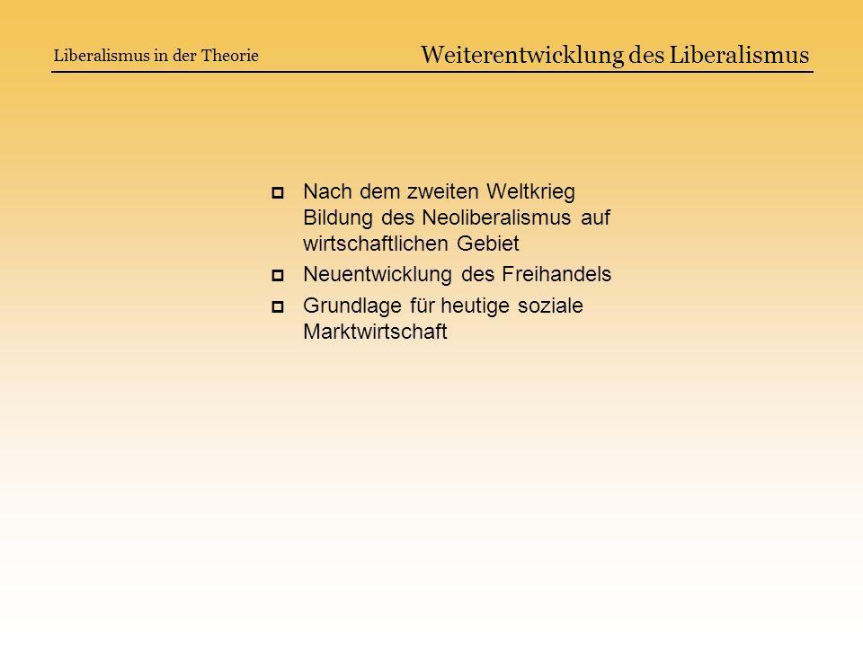 Weiterentwicklung des Liberalismus