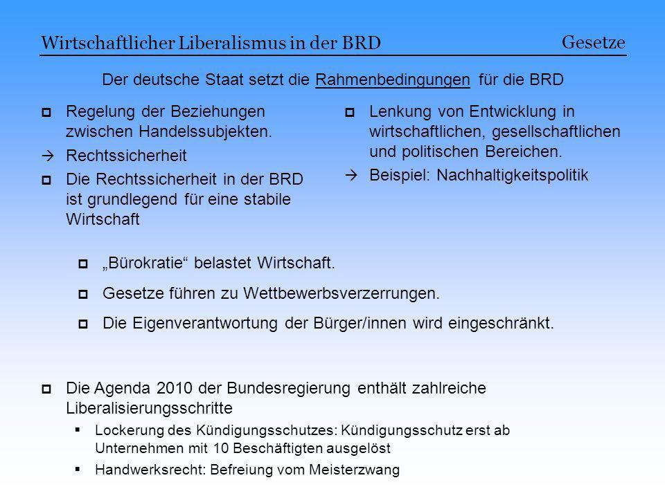 Der deutsche Staat setzt die Rahmenbedingungen für die BRD