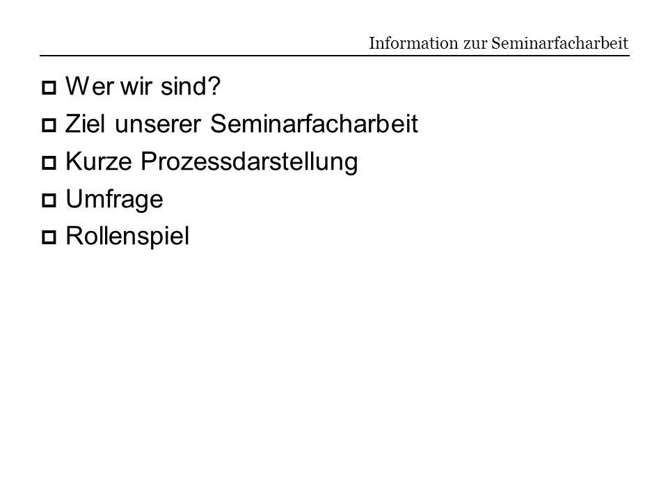 Information zur Seminarfacharbeit