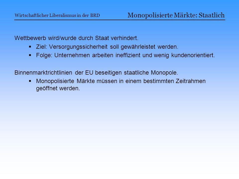 Monopolisierte Märkte: Staatlich