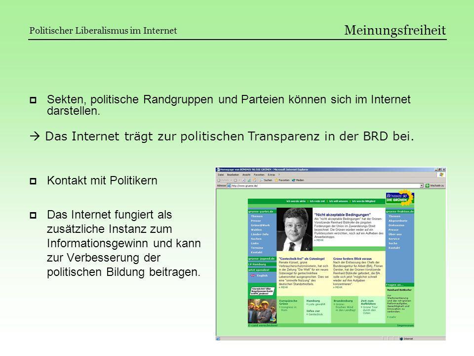 Meinungsfreiheit Politischer Liberalismus im Internet. Sekten, politische Randgruppen und Parteien können sich im Internet darstellen.