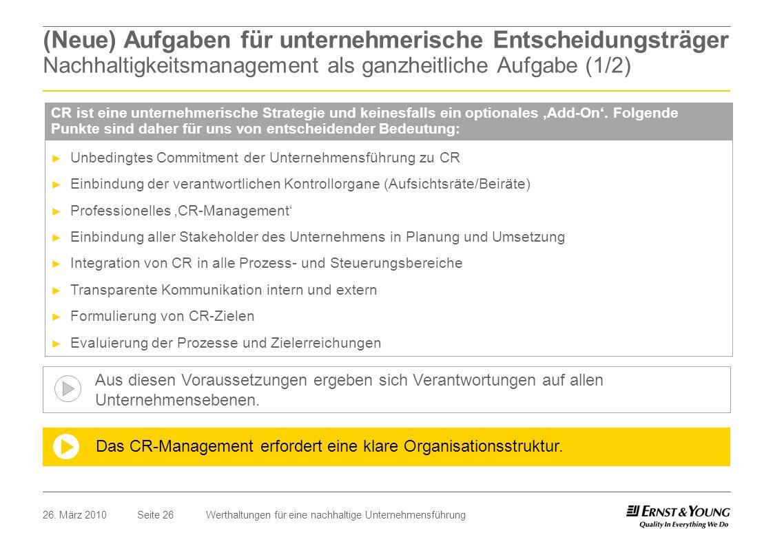 (Neue) Aufgaben für unternehmerische Entscheidungsträger Nachhaltigkeitsmanagement als ganzheitliche Aufgabe (1/2)