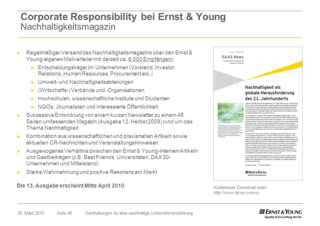 Corporate Responsibility bei Ernst & Young Nachhaltigkeitsmagazin