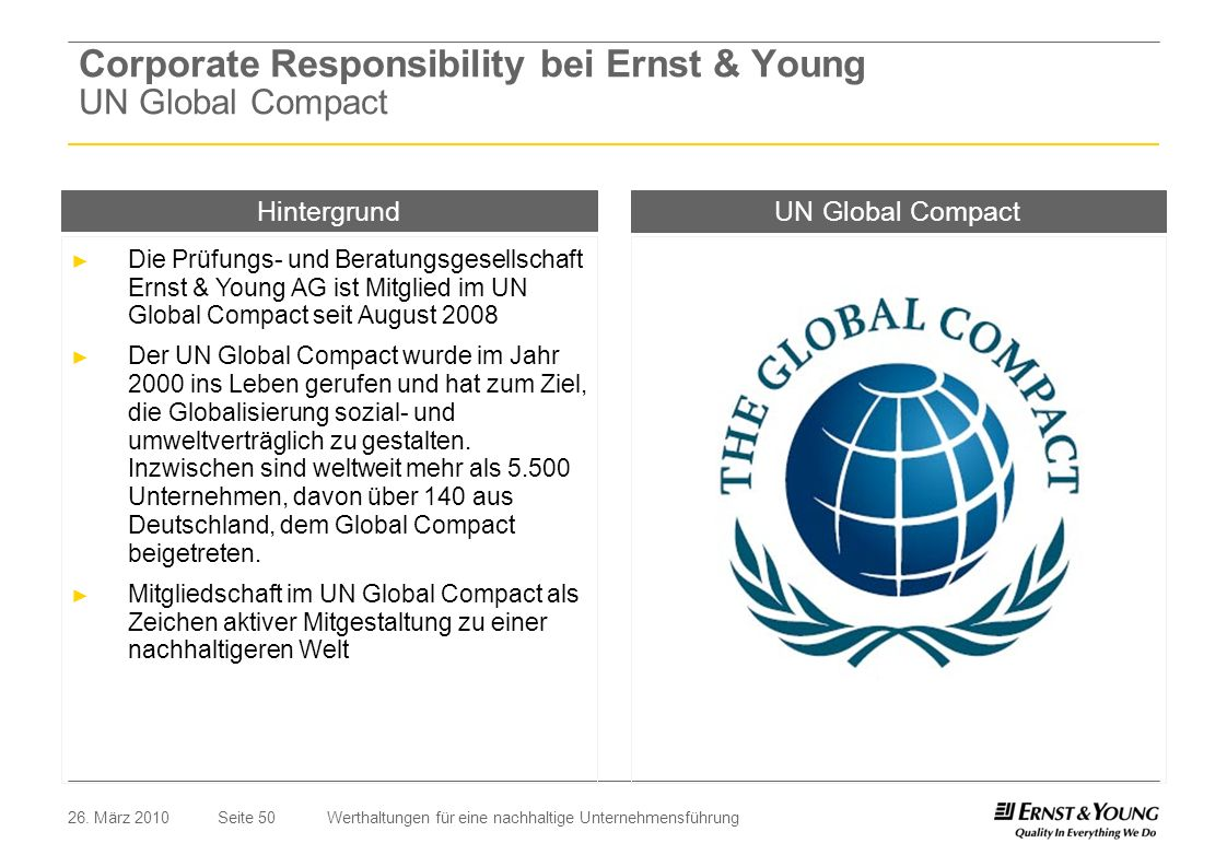 Corporate Responsibility bei Ernst & Young UN Global Compact