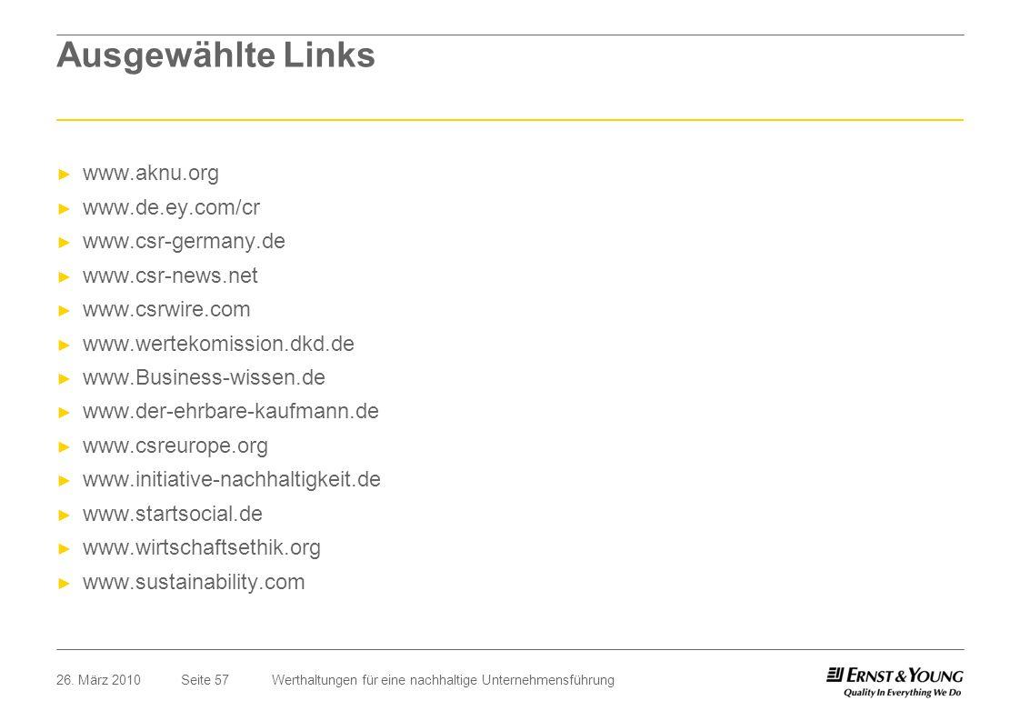 Ausgewählte Links www.aknu.org www.de.ey.com/cr www.csr-germany.de