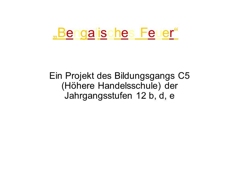 """""""Bengalisches Feuer Ein Projekt des Bildungsgangs C5 (Höhere Handelsschule) der Jahrgangsstufen 12 b, d, e."""