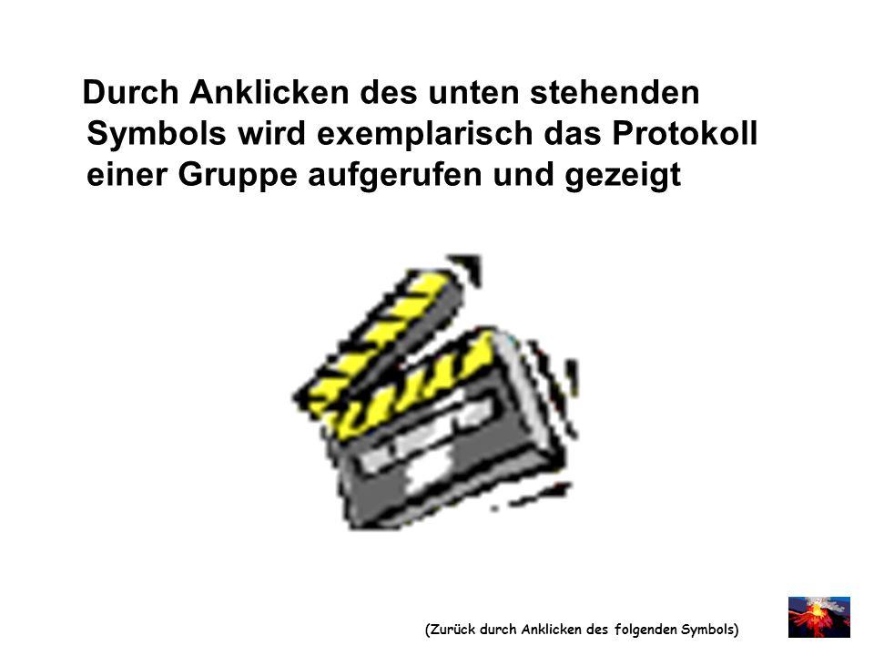 Durch Anklicken des unten stehenden Symbols wird exemplarisch das Protokoll einer Gruppe aufgerufen und gezeigt