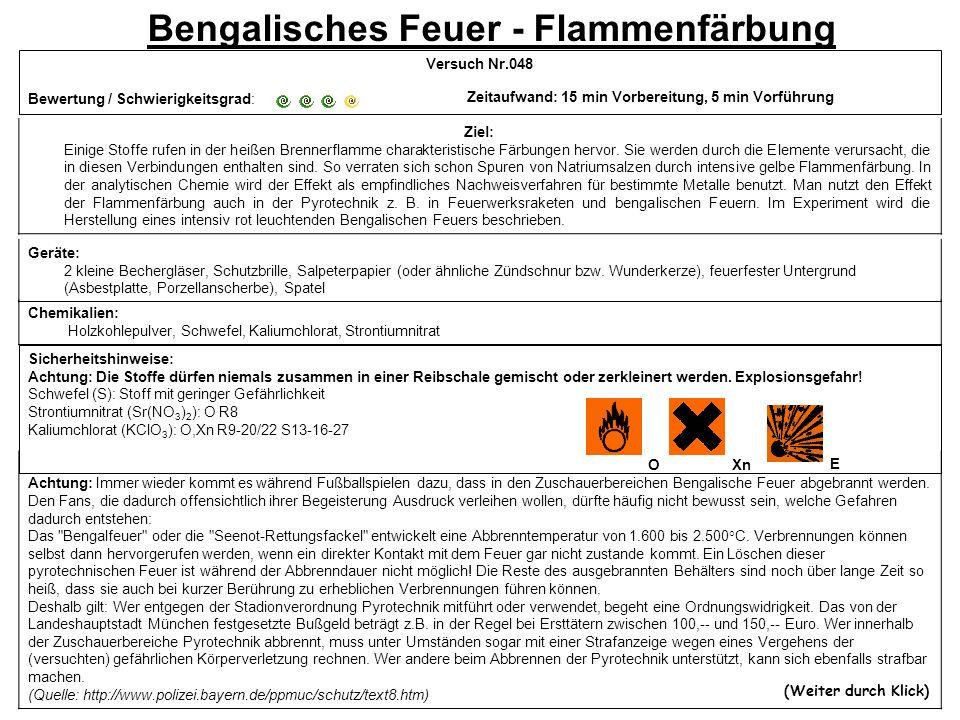 Bengalisches Feuer - Flammenfärbung