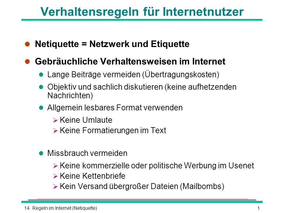 Verhaltensregeln für Internetnutzer