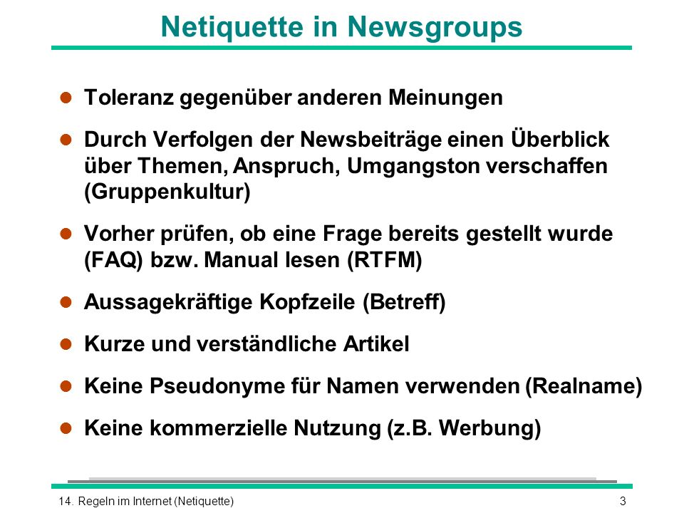 Netiquette in Newsgroups