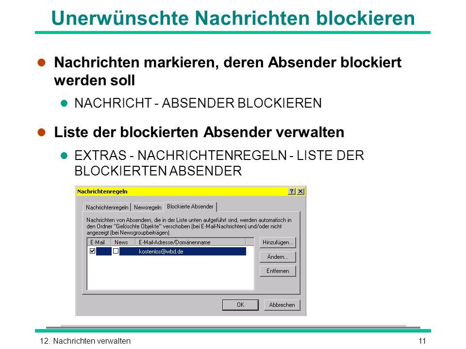 Unerwünschte Nachrichten blockieren