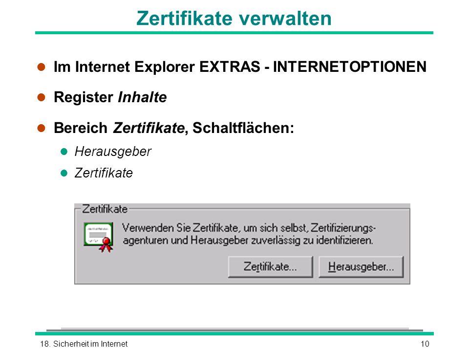Zertifikate verwalten