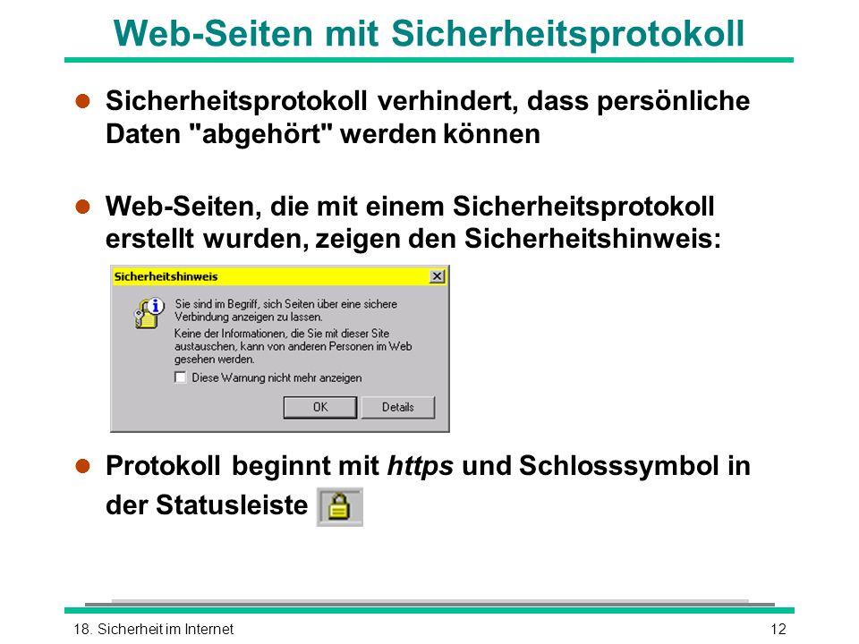 Web-Seiten mit Sicherheitsprotokoll