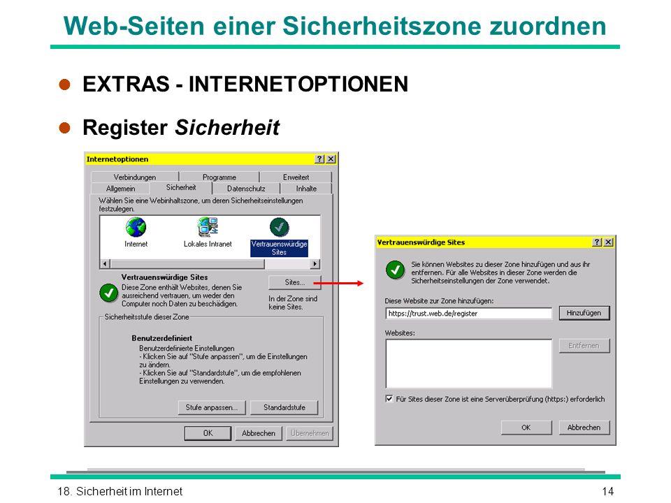 Web-Seiten einer Sicherheitszone zuordnen