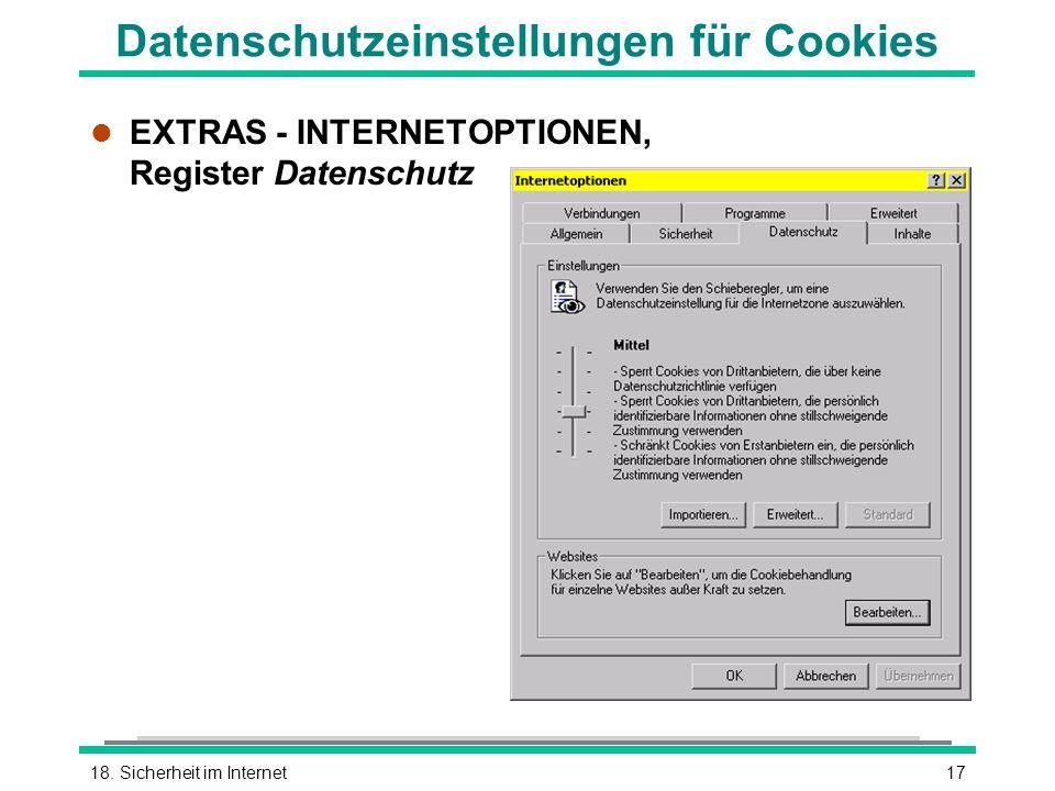 Datenschutzeinstellungen für Cookies