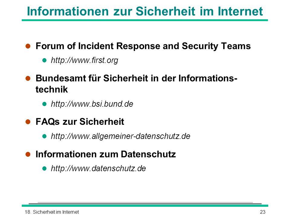Informationen zur Sicherheit im Internet