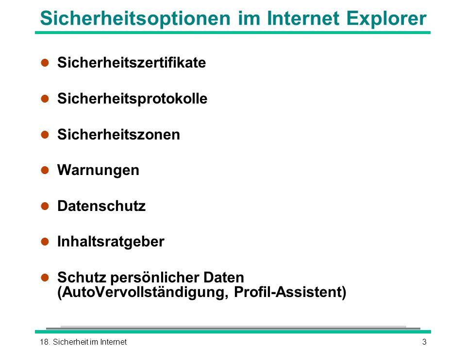 Sicherheitsoptionen im Internet Explorer