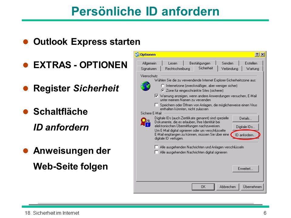 Persönliche ID anfordern