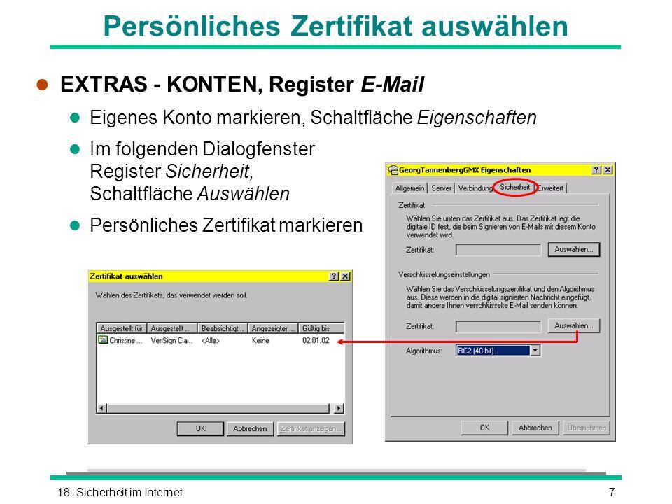 Persönliches Zertifikat auswählen