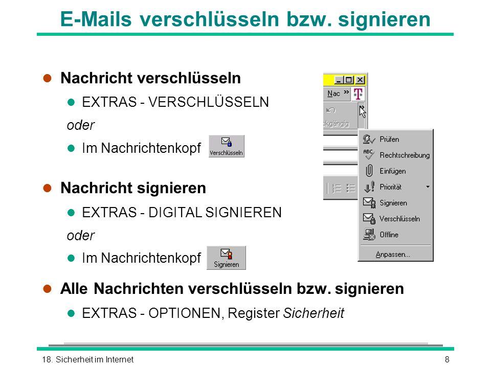 E-Mails verschlüsseln bzw. signieren