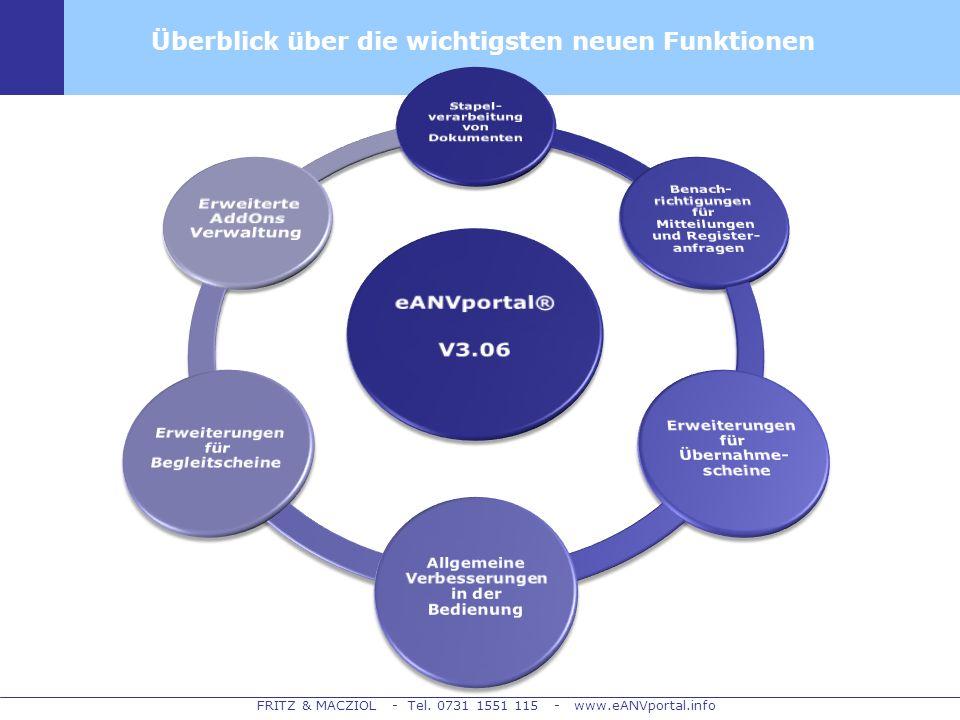 eANVportal® V3.06 Überblick über die wichtigsten neuen Funktionen