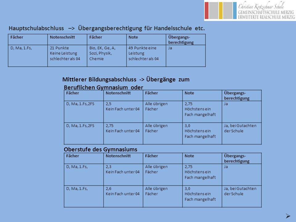 Hauptschulabschluss –> Übergangsberechtigung für Handelsschule etc.